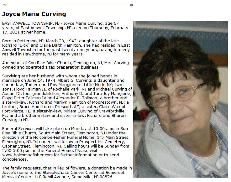 Joyce Curving - Obituary